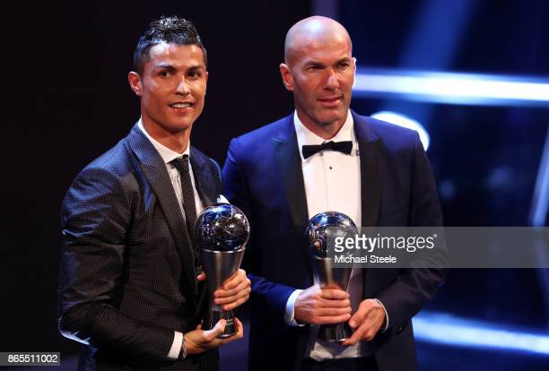 Cristiano Ronaldo of Portugal and Real Madrid CF wins The best Fifa men's player and Zinedine Zidane of France and Real Madrid CF wins The Best FIFA...