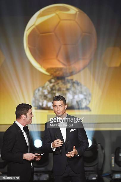 Cristiano Ronaldo of Portugal and Real Madrid is interviewed by host James Nesbitt during the FIFA Ballon d'Or Gala 2015 at the Kongresshaus on...