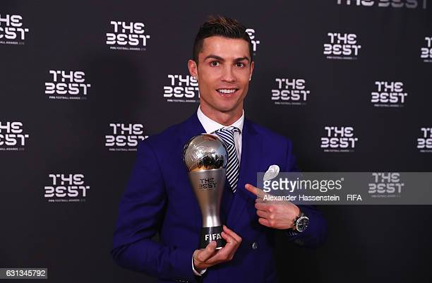 Cristiano Ronaldo of Portugal and Real Madrid poses with his The Best FIFA Men's Player Award after The Best FIFA Football Awards at TPC Studio on...