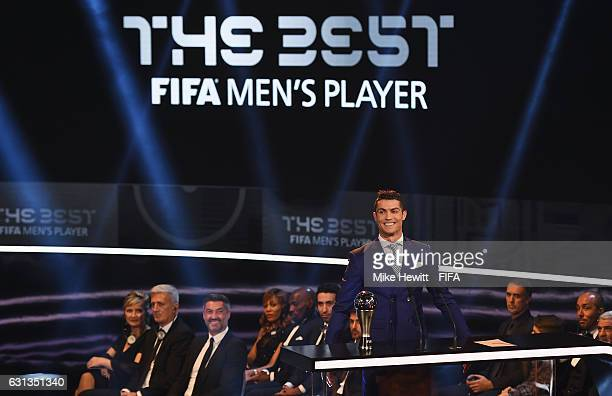 Cristiano Ronaldo of Portugal and Real Madrid poses with his The Best FIFA Men's Player Award during The Best FIFA Football Awards at TPC Studio on...