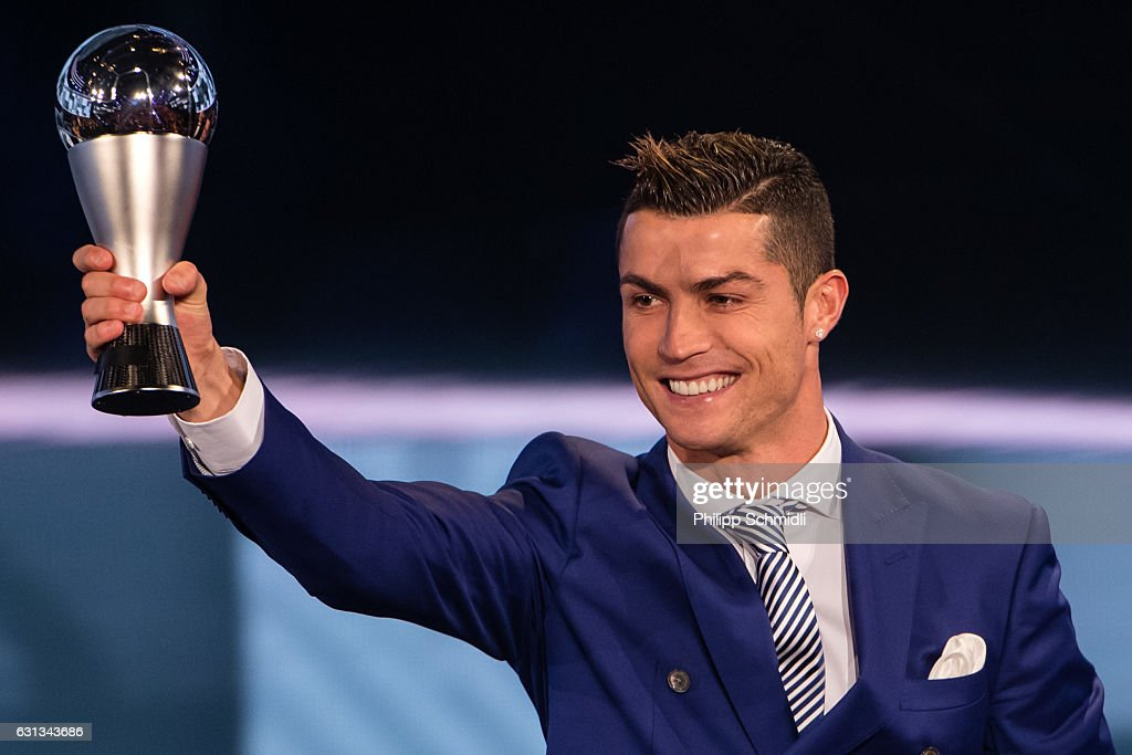Cristiano Ronaldo of Portugal and Real Madrid receives The Best FIFA Men's Player Award during The Best FIFA Football Awards 2016 on January 9, 2017 in Zurich, Switzerland.