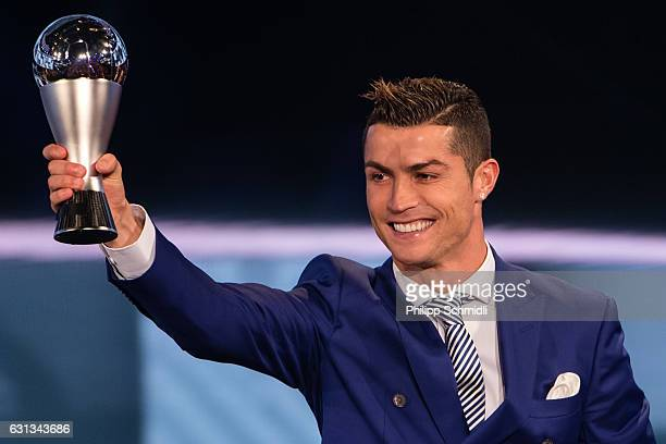 Cristiano Ronaldo of Portugal and Real Madrid receives The Best FIFA Men's Player Award during The Best FIFA Football Awards 2016 on January 9, 2017...