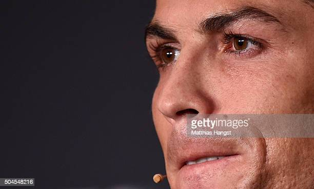 Cristiano Ronaldo of Portugal and Real Madrid speaks to the media during a press conference prior to the FIFA Ballon d'Or Gala 2015 at the...