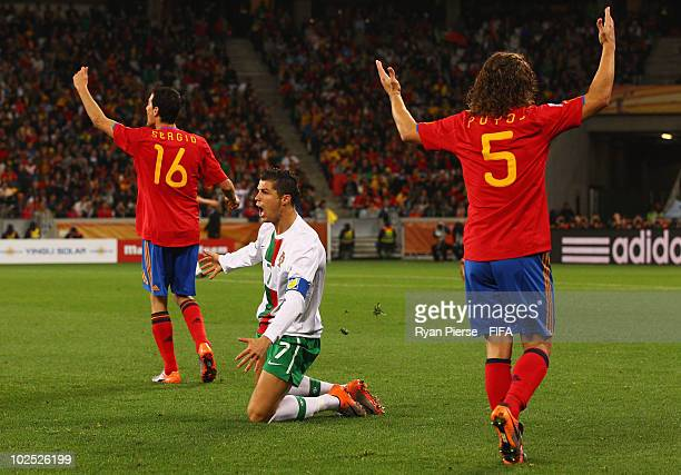 Cristiano Ronaldo of Portugal appeals to the referee during the 2010 FIFA World Cup South Africa Round of Sixteen match between Spain and Portugal at...