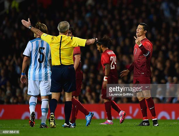 Cristiano Ronaldo of Portugal appeals to the Referee during the International Friendly between Argentina and Portugal at Old Trafford on November 18...