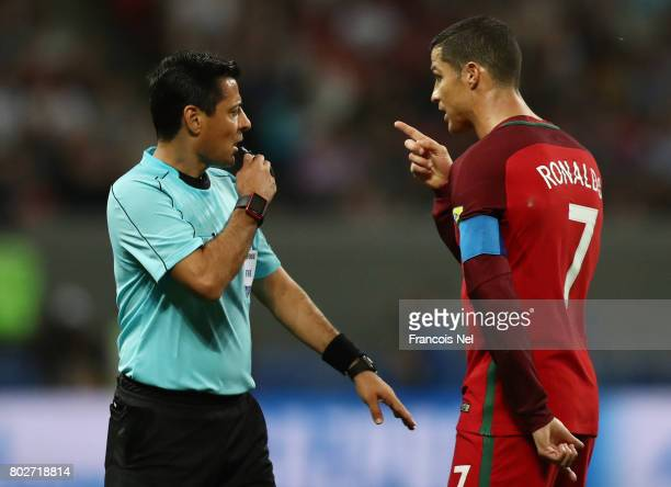 Cristiano Ronaldo of Portugal argues with Referee Alireza Faghani during the FIFA Confederations Cup Russia 2017 SemiFinal between Portugal and Chile...