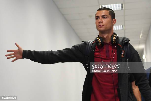 Cristiano Ronaldo of Portugal arrives at the stadium prior to the FIFA Confederations Cup Russia 2017 SemiFinal between Portugal and Chile at Kazan...