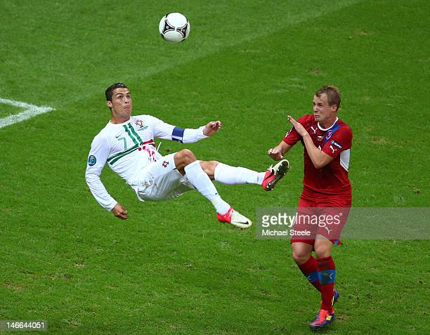 Cristiano Ronaldo of Portugal attempts an overhead kick during the UEFA EURO 2012 quarter final match between Czech Republic and Portugal at The...