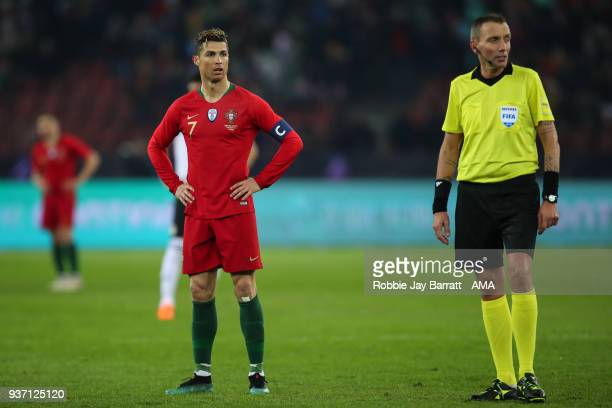 Cristiano Ronaldo of Portugal awaits the decision of his second goal through a VAR decision during the International Friendly match between Portugal...