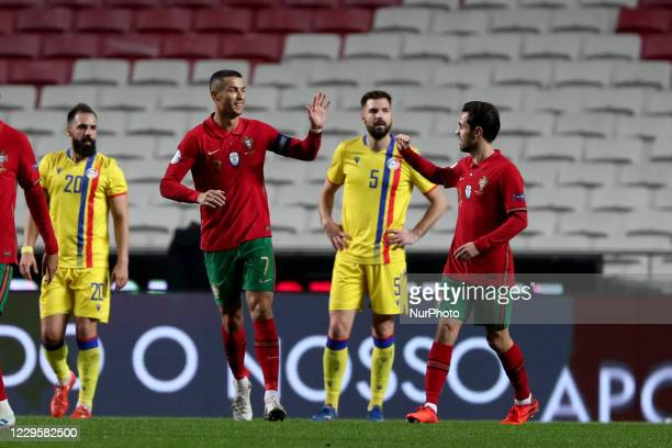Cristiano Ronaldo of Portugal celebrates a goal with Bernardo Silva during the friendly football match between Portugal and Andorra, at the Luz...