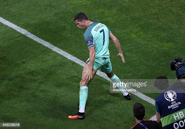 Cristiano Ronaldo of Portugal celebrates after scoring a goal during the UEFA Euro 2016 semi final match between Portugal and Wales at Stade de Lyon...