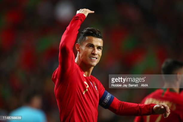 Cristiano Ronaldo of Portugal celebrates after scoring a goal to make it 3-0 during the UEFA Nations League Semi-Final match between Portugal and...