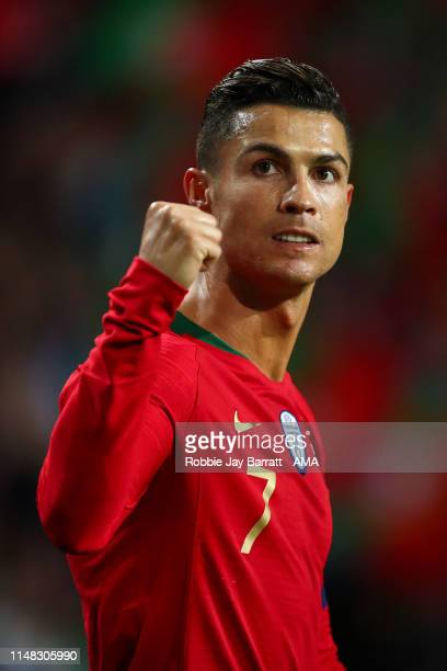 Cristiano Ronaldo of Portugal celebrates after scoring a goal to make it 2-1 during the UEFA Nations League Semi-Final match between Portugal and...