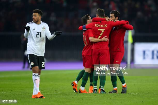 Cristiano Ronaldo of Portugal celebrates after scoring a goal to make it 21 via the VAR system during the International Friendly match between...