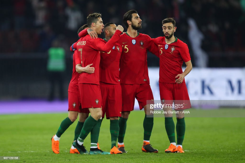 Cristiano Ronaldo of Portugal celebrates after scoring a goal to make it 2-1 via the VAR system during the International Friendly match between Portugal and Egypt at Stadion Letzigrund on March 23, 2018 in Zurich, Switzerland.