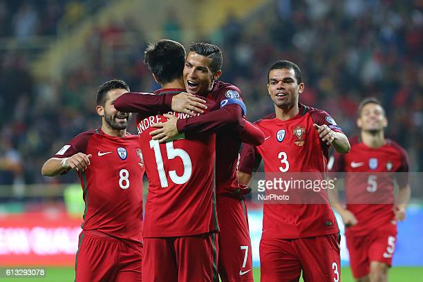 Cristiano Ronaldo of Portugal celebrates after scoring a goal with team during the 2018 FIFA World Cup Qualifiers matches between Portugal and...