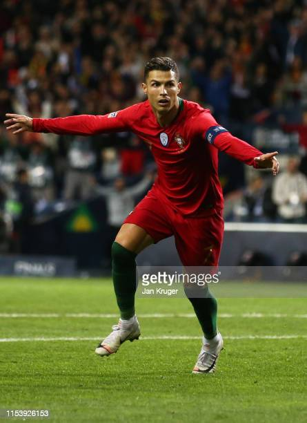 Cristiano Ronaldo of Portugal celebrates after scoring his team's second goal during the UEFA Nations League Semi-Final match between Portugal and...