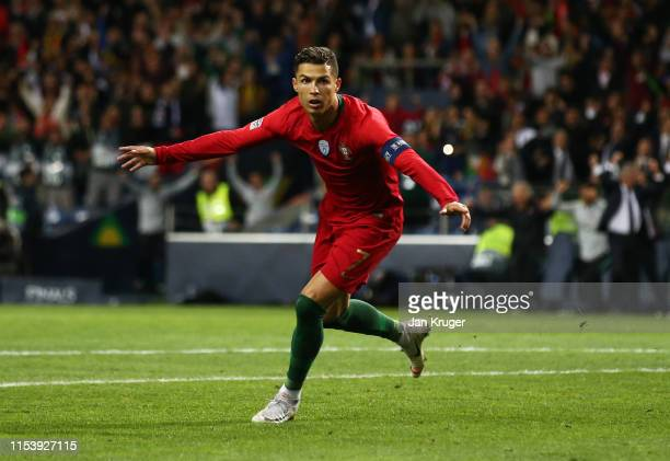 Cristiano Ronaldo of Portugal celebrates after scoring his team's second goal during the UEFA Nations League SemiFinal match between Portugal and...