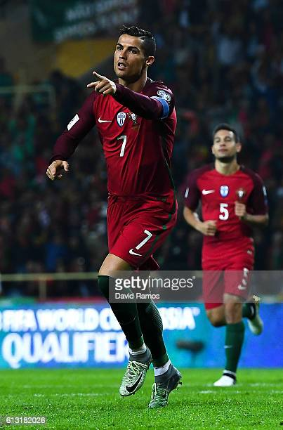 Cristiano Ronaldo of Portugal celebrates after scoring his team's fourth goal during the FIFA 2018 World Cup Qualifier between Portugal and Andorra...