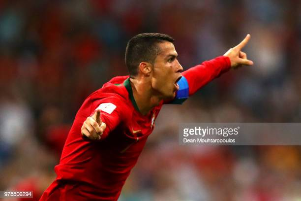 Cristiano Ronaldo of Portugal celebrates after scoring his team's second goal during the 2018 FIFA World Cup Russia group B match between Portugal...