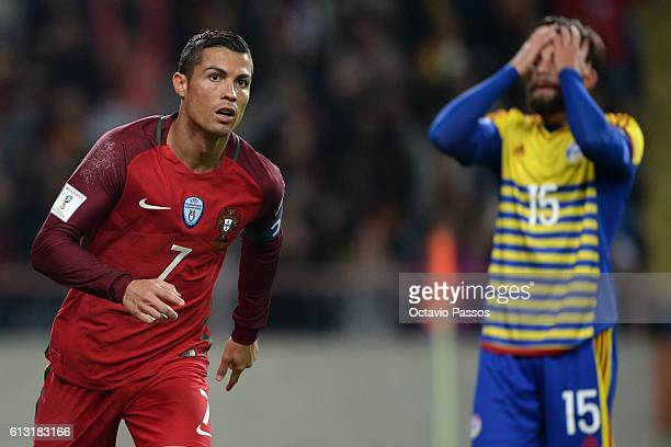Cristiano Ronaldo of Portugal celebrates after scoring the fourth goal during the 2018 FIFA World Cup Qualifiers Group B first leg match between...