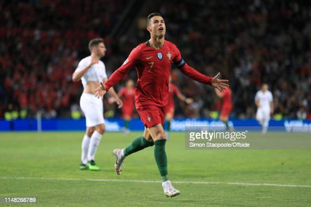 Cristiano Ronaldo of Portugal celebrates after scoring their 3rd goal during the UEFA Nations League Semi-Final match between Portugal and...