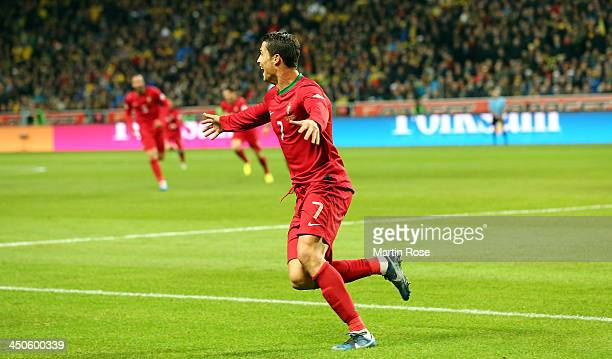 Cristiano Ronaldo of Portugal celebrates after scoring their 3rd goal during the FIFA 2014 World Cup Qualifier Play-off Second Leg match between...