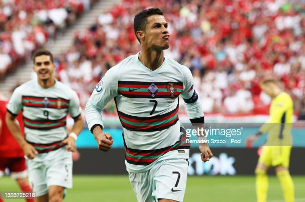 Cristiano Ronaldo of Portugal celebrates after scoring their side's second goal during the UEFA Euro 2020 Championship Group F match between Hungary...