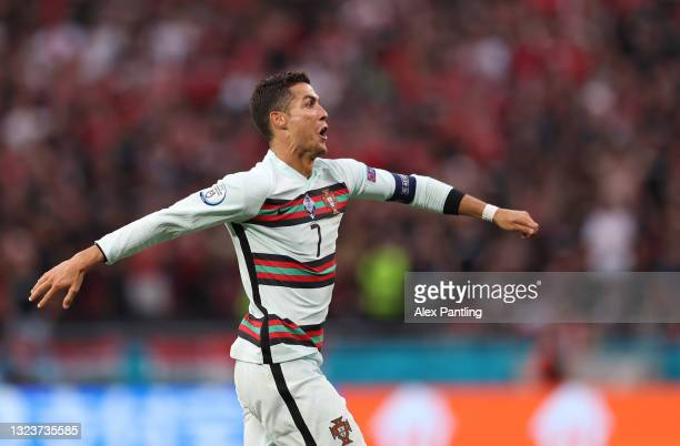 Cristiano Ronaldo of Portugal celebrates after scoring their side's third goal during the UEFA Euro 2020 Championship Group F match between Hungary...