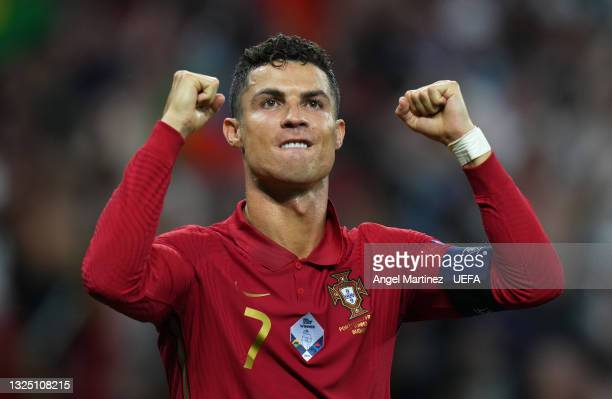 Cristiano Ronaldo of Portugal celebrates after scoring their side's first goal during the UEFA Euro 2020 Championship Group F match between Portugal...
