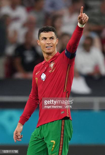 Cristiano Ronaldo of Portugal celebrates after scoring their side's second goal from the penalty spot during the UEFA Euro 2020 Championship Group F...