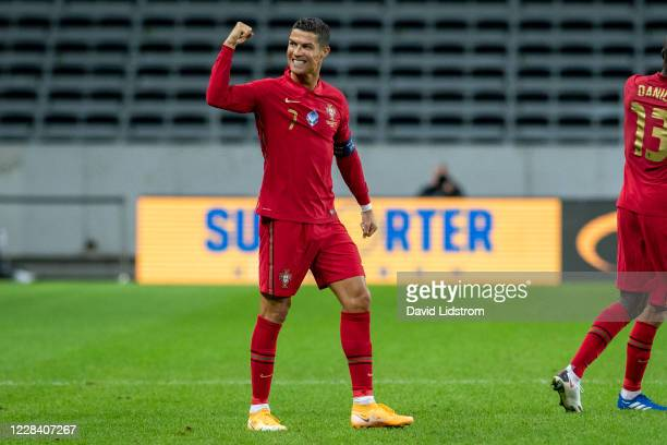 Cristiano Ronaldo of Portugal celebrates after the 0-1 goal during the UEFA Nations League group stage match between Sweden and Portugal at Friends...