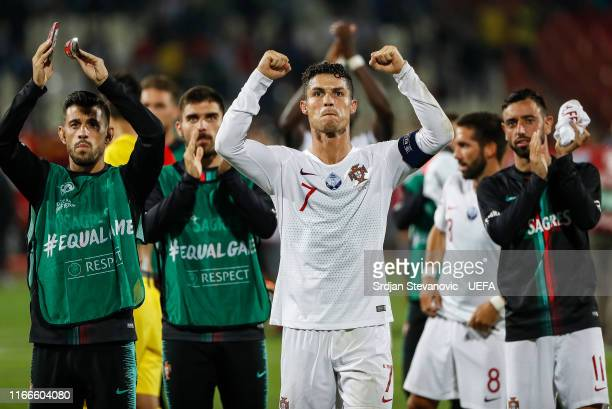 Cristiano Ronaldo of Portugal celebrates after winning the UEFA Euro 2020 qualifier between Serbia and Portugal at Stadium Crvena Zvezda on September...
