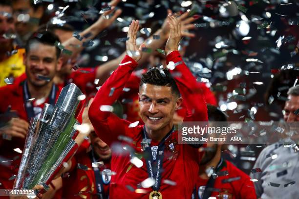 Cristiano Ronaldo of Portugal celebrates during the UEFA Nations League Final between Portugal and the Netherlands at Estadio do Dragao on June 9...