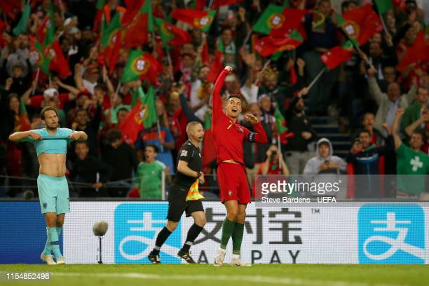 Cristiano Ronaldo of Portugal celebrates following his sides victory in the UEFA Nations League Final between Portugal and the Netherlands at Estadio...