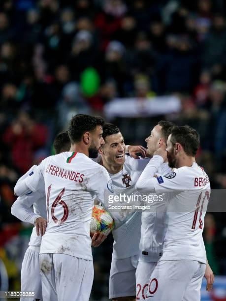 Cristiano Ronaldo of Portugal, celebrates his goal with Bruno Fernandes of Portugal, Diogo Jota of Portugal, Bernardo Silva of Portugal during the...