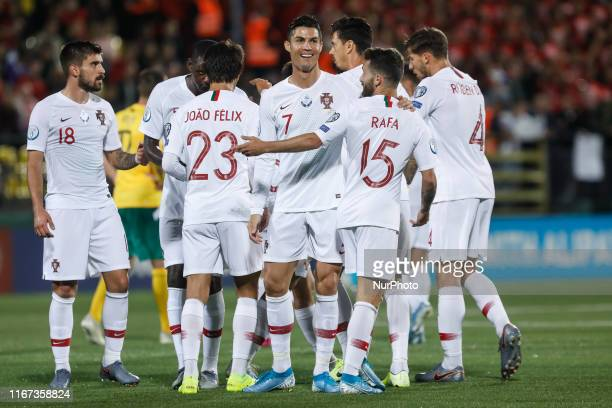 Cristiano Ronaldo of Portugal celebrates his goal with teammates during the UEFA Euro 2020 qualifying match between Lithuanua and Portugal on...