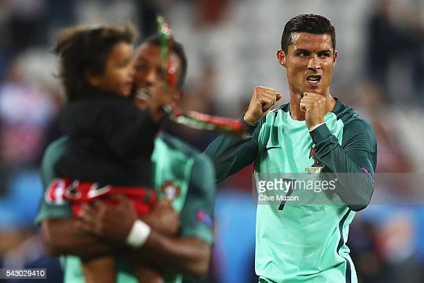 Cristiano Ronaldo of Portugal celebrates his team's 10 win after the UEFA EURO 2016 round of 16 match between Croatia and Portugal at Stade...
