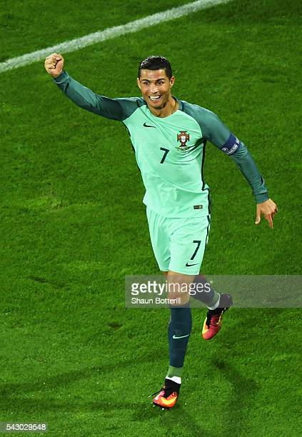 Cristiano Ronaldo of Portugal celebrates his team's first goal during the UEFA EURO 2016 round of 16 match between Croatia and Portugal at Stade...