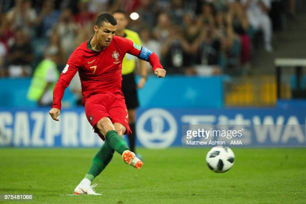 Cristiano Ronaldo of Portugal celebrates scores a goal to make it 10 during the 2018 FIFA World Cup Russia group B match between Portugal and Spain...