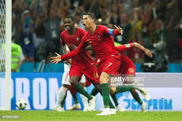 Cristiano Ronaldo of Portugal celebrates scoring a goal to make it 33 during the 2018 FIFA World Cup Russia group B match between Portugal and Spain...