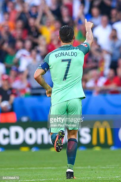 Cristiano RONALDO of Portugal celebrates scoring his goal during the UEFA EURO 2016 Group F match between Hungary and Portugal at Stade des Lumieres...