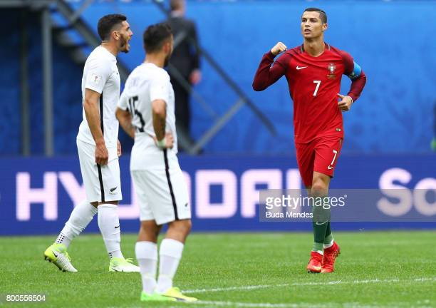 Cristiano Ronaldo of Portugal celebrates scoring his sides first goal during the FIFA Confederations Cup Russia 2017 Group A match between New...