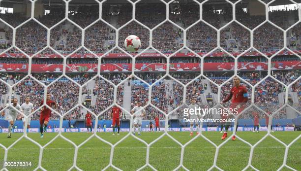 Cristiano Ronaldo of Portugal celebrates scoring his sides first goal from the penalty spot during the FIFA Confederations Cup Russia 2017 Group A...