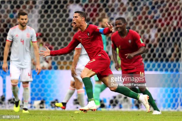 Cristiano Ronaldo of Portugal celebrates scoring his side's third goal during the 2018 FIFA World Cup Russia group B match between Portugal and Spain...