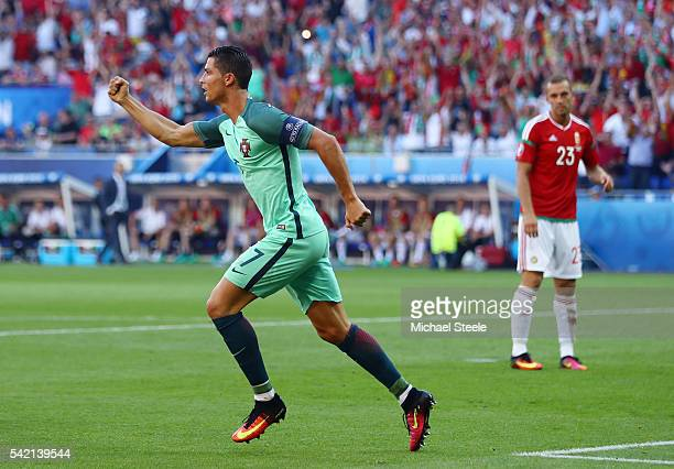 Cristiano Ronaldo of Portugal celebrates scoring his team's second goal during the UEFA EURO 2016 Group F match between Hungary and Portugal at Stade...