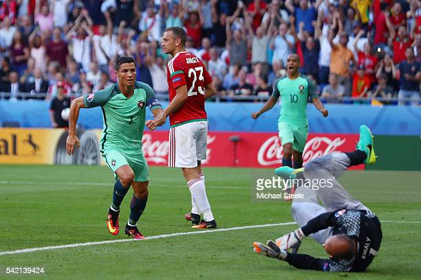 Cristiano Ronaldo of Portugal celebrates scoring his team's third goal during the UEFA EURO 2016 Group F match between Hungary and Portugal at Stade...