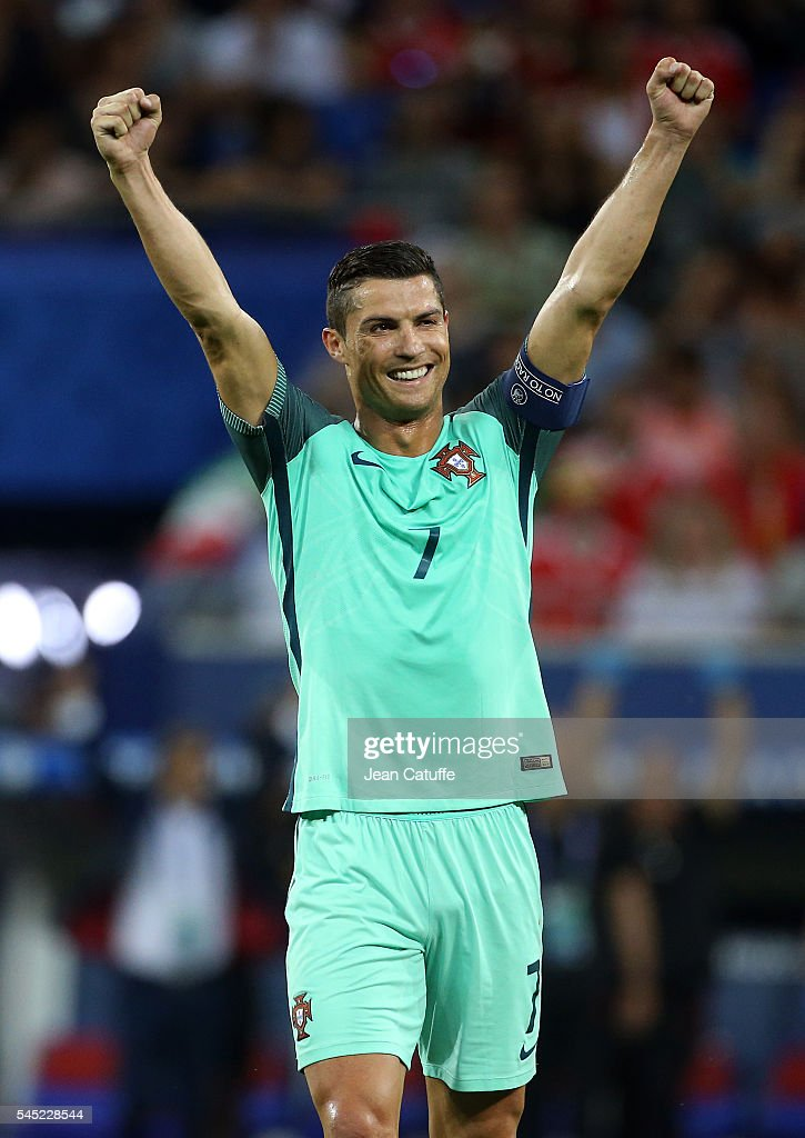 Cristiano Ronaldo of Portugal celebrates the victory following the UEFA Euro 2016 semi-final between Wales and Portugal at Parc OL, Stade des Lumieres on July 6, 2016 in Lyon, France.