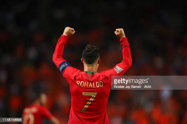 Cristiano Ronaldo of Portugal celebrates victory during the UEFA Nations League Semi-Final match between the Netherlands and England at Estadio D....
