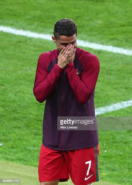 Cristiano Ronaldo of Portugal celebrates winning at the final whistle during the UEFA EURO 2016 Final match between Portugal and France at Stade de...